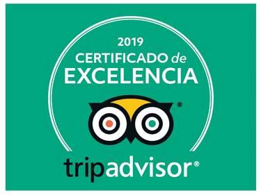 Certificado excelencia Trip Advisor Disfruta del Sella 2019